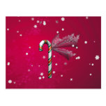 Snowflake Candy Cane Postcard
