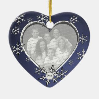 Snowflake Charm Frame Ceramic Ornament