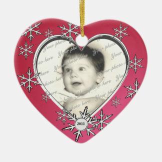 Snowflake Charm Frame Double-Sided Heart Ceramic Christmas Ornament