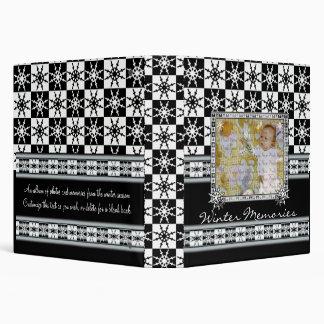 Snowflake Checkerboard Winter Memories Book 3 Ring Binder