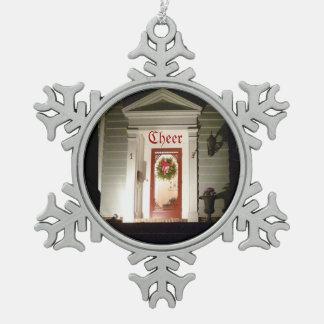 Snowflake Cheer Ornament Front Door Wreath
