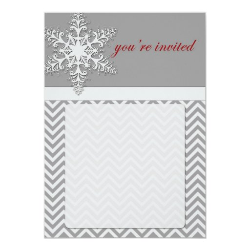Snowflake Chevron Invitation (blank)