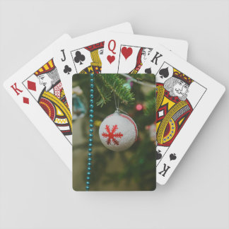 Snowflake Christmas bauble Poker Cards