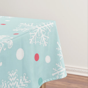 Snowflake Christmas Blue White And Red Tablecloth