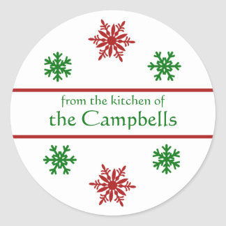 Snowflake Christmas Canning Gift Tag Classic Round Sticker