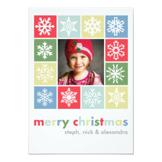 Snowflake Christmas colorful 5x7 Paper Invitation Card