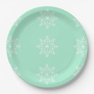 Snowflake Christmas Design Light Mint Xmas Holiday Paper Plate