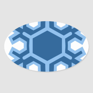 Snowflake Christmas Design Oval Sticker