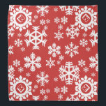 """Snowflake Christmas Dog Bandana<br><div class=""""desc"""">A red and white snowflake pattern with corner spaces your pup&#39;s initial. Christmassy!</div>"""