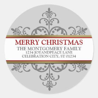 Snowflake Christmas Family Address Classic Round Sticker