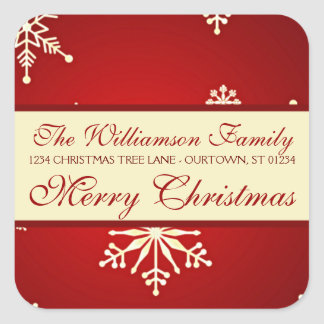 Snowflake Christmas Family Address Stickers
