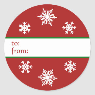 Snowflake Christmas Gift Tag Classic Round Sticker