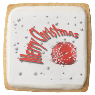 Snowflake Christmas greeting PERSONALIZE Square Shortbread Cookie
