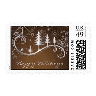 Snowflake Christmas Happy Holiday Postage Stamps