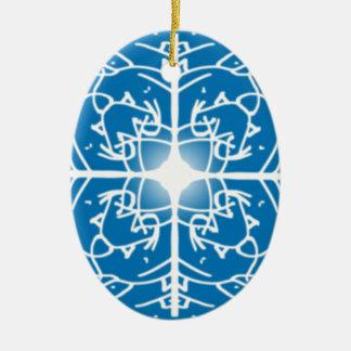 snowflake Christmas holidays design Double-Sided Oval Ceramic Christmas Ornament
