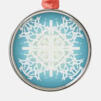 snowflake Christmas holidays design Round Metal Christmas Ornament
