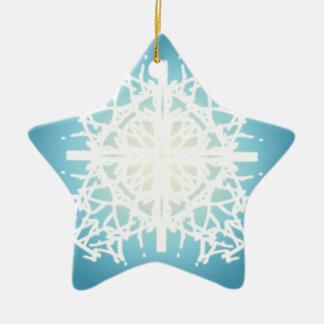 snowflake Christmas holidays design Double-Sided Star Ceramic Christmas Ornament