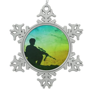 Snowflake Christmas Ornament with Soldier, green