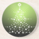 snowflake Christmas tree coaster Green