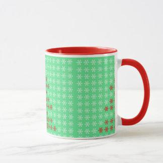 Snowflake Christmas Trees Background Ringer Mug