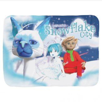 Snowflake City Baby Blanket. Swaddle Blanket