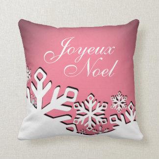 Snowflake City Joyeux Noel Christmas | pink Pillows