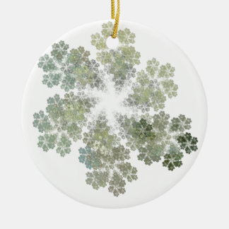 Snowflake Clusters Double-Sided Ceramic Round Christmas Ornament
