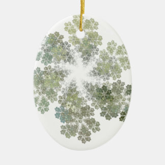 Snowflake Clusters Double-Sided Oval Ceramic Christmas Ornament