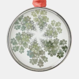 Snowflake Clusters Round Metal Christmas Ornament