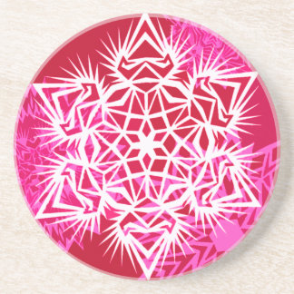 Snowflake Coaster in Red and Pink