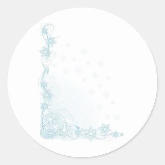 Snowflake Corner Classic Round Sticker