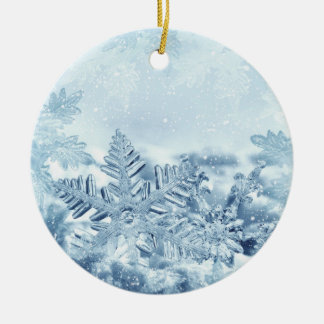 Snowflake Crystals Ceramic Round Ornament