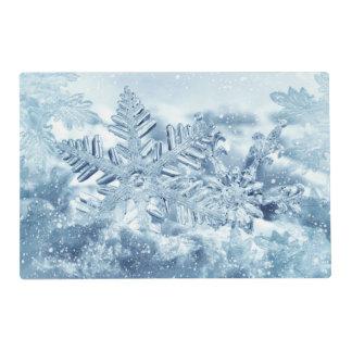 Snowflake Crystals Laminated Placemat
