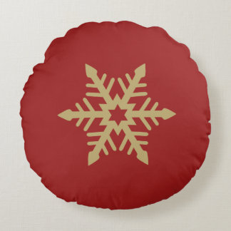 Snowflake Design Gold on Red Round Pillow