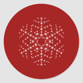 Snowflake Design in Dark Red and White. Classic Round Sticker