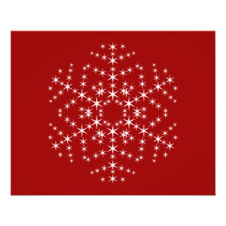 Snowflake Design in Dark Red and White. Flyer