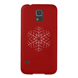 Snowflake Design in Dark Red and White. Galaxy S5 Case