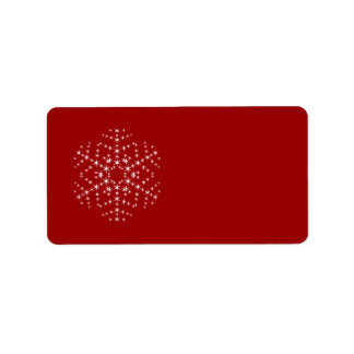 Snowflake Design in Dark Red and White. Label