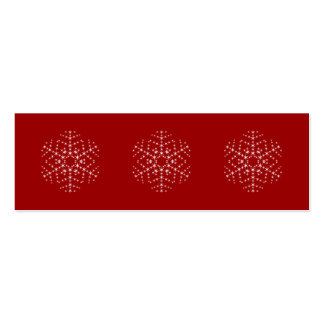 Snowflake Design in Dark Red and White. Mini Business Card