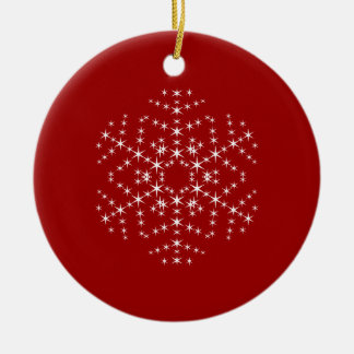 Snowflake Design in Dark Red and White Christmas Tree Ornaments