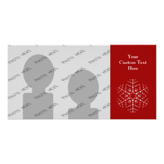 Snowflake Design in Dark Red and White. Photo Greeting Card