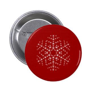 Snowflake Design in Dark Red and White. Pinback Button