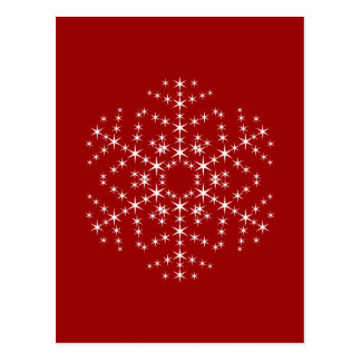 Snowflake Design in Dark Red and White. Postcard