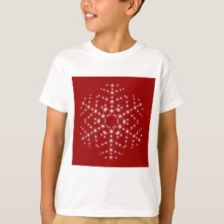 Snowflake Design in Dark Red and White. T-Shirt