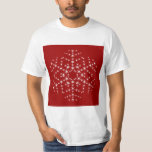 Snowflake Design in Dark Red and White. Tees
