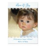 "Snowflake Design Love and Joy Flat Holiday Cards 5"" X 7"" Invitation Card"