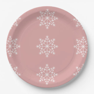 Snowflake Design Pastel Pink Christmas Holiday Paper Plate