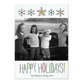 Snowflake Doodles Holiday Photo Card