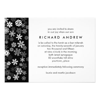 Snowflake Edge 2 Bar Mitzvah Custom Invites