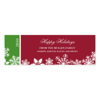 Snowflake Edge Holiday Gift Tag Business Card Template